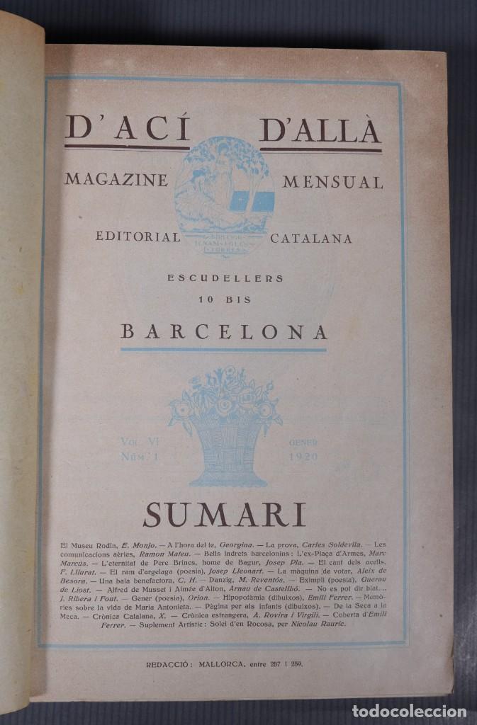Coleccionismo de Revistas y Periódicos: D'Aci D'Alla Revista Gráfica catalana 1920-quinto volumen - Foto 8 - 245641625