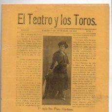 Coleccionismo de Revistas y Periódicos: EL TEATRO Y LOS TOROS. Nº 6. 7 DE DICIEMBRE DE 1909. Lote 245901895