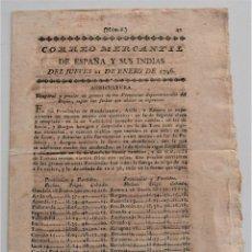 Coleccionismo de Revistas y Periódicos: CORREO MERCANTIL DE ESPAÑA Y SUS INDIAS Nº 6 DEL 21 ENERO 1796 - BADAJOZ, CÁDIZ, BARCELONA, MADRID. Lote 247768910