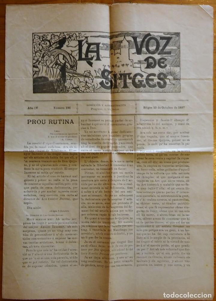 Coleccionismo de Revistas y Periódicos: La Voz de Sitges, año IV, nº 196 (1897). Artículo de Santiago Rusiñol - Foto 2 - 247799185