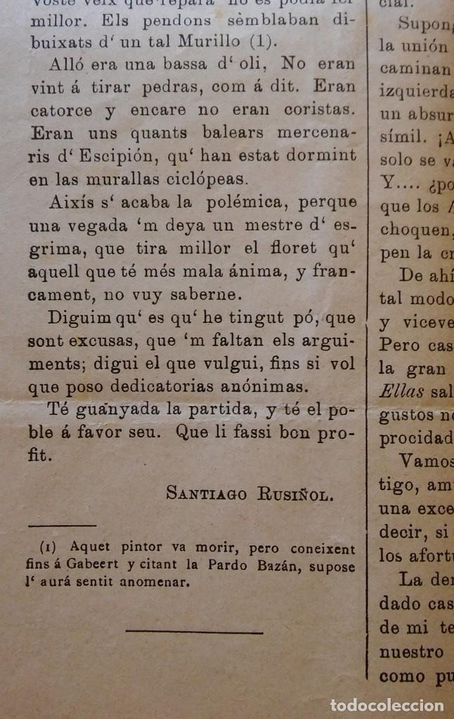 Coleccionismo de Revistas y Periódicos: La Voz de Sitges, año IV, nº 196 (1897). Artículo de Santiago Rusiñol - Foto 3 - 247799185