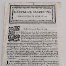 Coleccionismo de Revistas y Periódicos: GAZETA DE BARCELONA MARTES 16 DE MAYO DE 1769. Lote 248000245