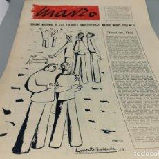 Coleccionismo de Revistas y Periódicos: MARZO, ÓRGANO NACIONAL DE LAS FALANGES UNIVERSITARIAS. MADRID 1958 Nº 1. Lote 248625520