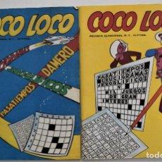Coleccionismo de Revistas y Periódicos: COCO LOCO REVISTA QUINCENAL DE PASATIEMPOS Nº 1 Y 2 - EDICIONES VÉRTICE AÑO 1980 - MUY RARAS. Lote 249365650