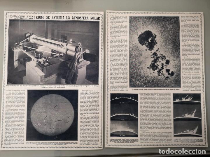 2 HOJAS REVISTA ORIGINALES CIRCA 1914. COMO SE ESTUDIA LA ATMOSFERA SOLAR, ASTRONOMO ASCARZA (Coleccionismo - Revistas y Periódicos Antiguos (hasta 1.939))