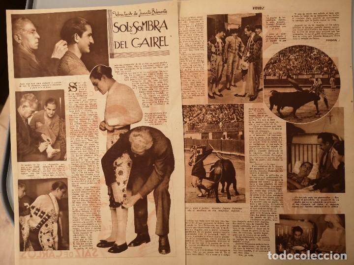 ARTICULO PRENSA ORIGINAL CIRCA 1938. UNA TARDE CON JUANITO BELMONTE, TORERO (Coleccionismo - Revistas y Periódicos Antiguos (hasta 1.939))