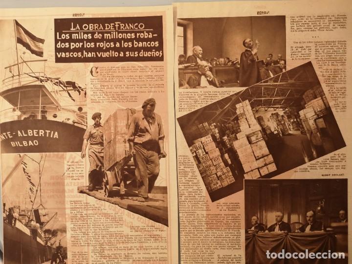 ARTICULO PRENSA ORIGINAL CIRCA 1939. MILLONES ROBADOS POR LOS ROJOS A LOS BANCOS VASCOS (Coleccionismo - Revistas y Periódicos Antiguos (hasta 1.939))