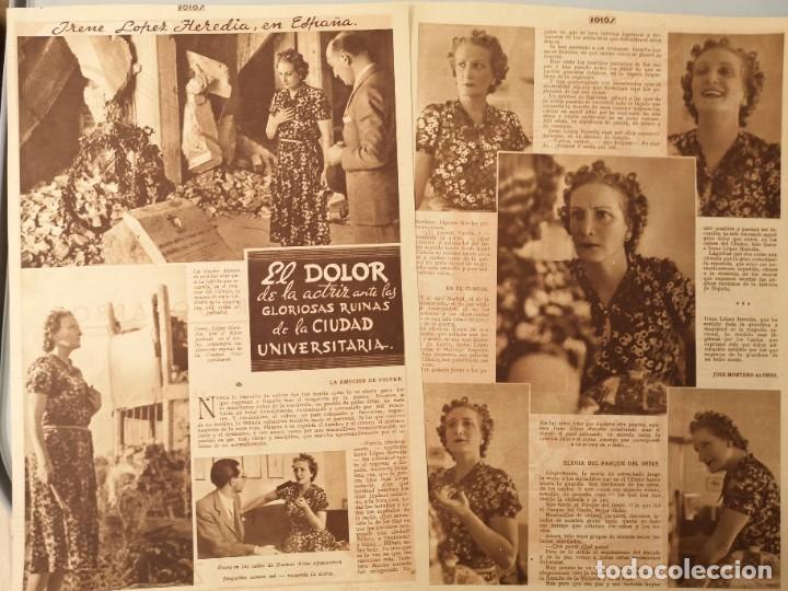 ARTICULO PRENSA ORIGINAL CIRCA 1939. DOLOR DE LA ACTRIZ IRENE LOPEZ HEREDIA EN RUINAS CIUDAD UNIVERS (Coleccionismo - Revistas y Periódicos Antiguos (hasta 1.939))
