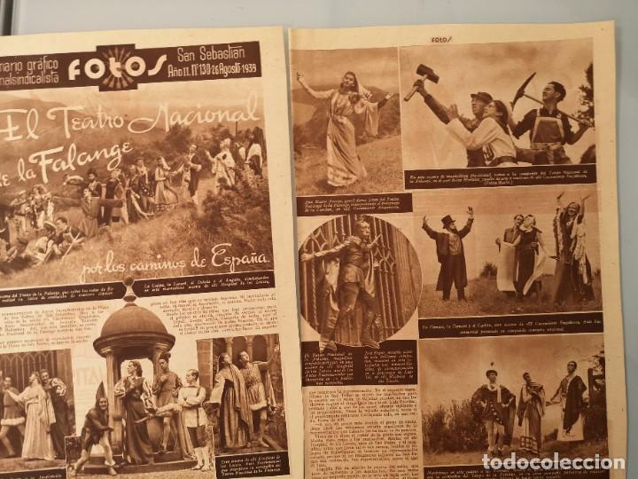 REPORTAJE PRENSA ORIGINAL 1939. EL TEATRO NACIONAL DE LA FALANGE POR LOS CAMINOS DE ESPAÑA (Coleccionismo - Revistas y Periódicos Antiguos (hasta 1.939))