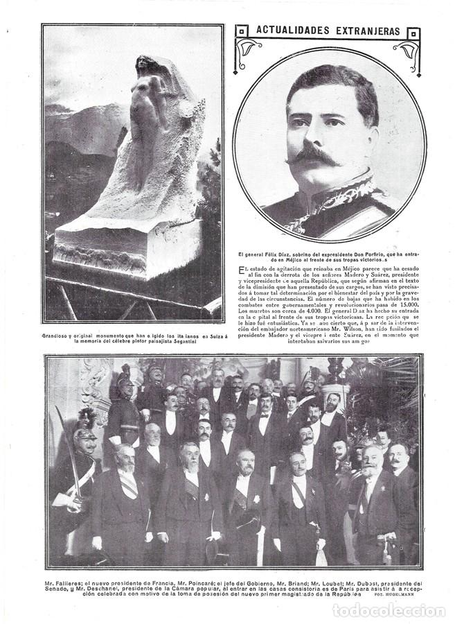 1913 HOJA REVISTA FRANCIA FALLIERES NUEVO PRESIDENTE, POINCARÉ JEFE DE GOBIERNO, BRIAND, LOUBET, DES (Coleccionismo - Revistas y Periódicos Antiguos (hasta 1.939))
