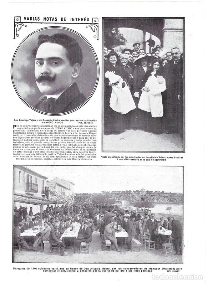 1913 HOJA REVISTA MALLORCA MANACOR BANQUETE CONSERVADOR DE 1000 PERSONAS EN HONOR DE ANTONIO MAURA (Coleccionismo - Revistas y Periódicos Antiguos (hasta 1.939))