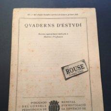 Coleccionismo de Revistas y Periódicos: ENSEÑANZA - Nº O DE PRESENTACIÓ QUADERNS D'ESTUDI REVISTA ESPECIAMENT DEDICADA A MESTRES I PROFESSOR. Lote 257299795
