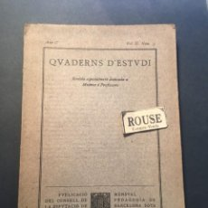 Coleccionismo de Revistas y Periódicos: ENSEÑANZA - QUADERNS D'ESTUDI REVISTA ESPECIAMENT DEDICADA A MESTRES I PROFESSOR. Lote 257310355