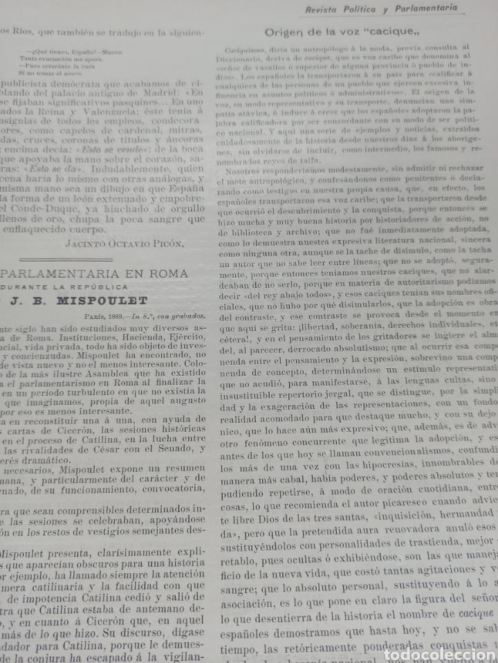 Coleccionismo de Revistas y Periódicos: REVISTA POLITICA Y PARLAMENTARIA. Director Gabriel Ricardo España, 32 números, casi completa. - Foto 2 - 257472870
