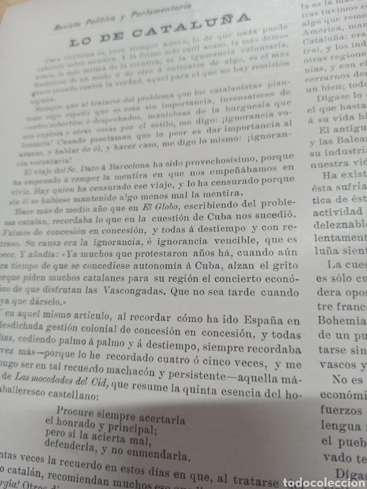 Coleccionismo de Revistas y Periódicos: REVISTA POLITICA Y PARLAMENTARIA. Director Gabriel Ricardo España, 32 números, casi completa. - Foto 15 - 257472870