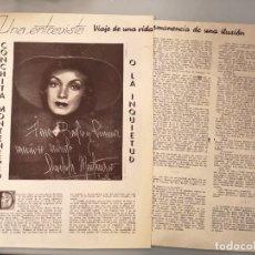 Colecionismo de Revistas e Jornais: 2 HOJAS REVISTA ORIGINALES ANTIGUAS. ENTREVISTA A CONCHITA MONTENEGRO, ACTRIZ. Lote 257773765