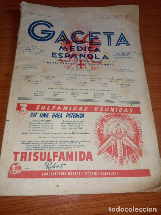 GACETA MEDICA ESPAÑOLA FEBRERO 1953 AÑO XXVII Nº2 (Coleccionismo - Revistas y Periódicos Modernos (a partir de 1.940) - Otros)