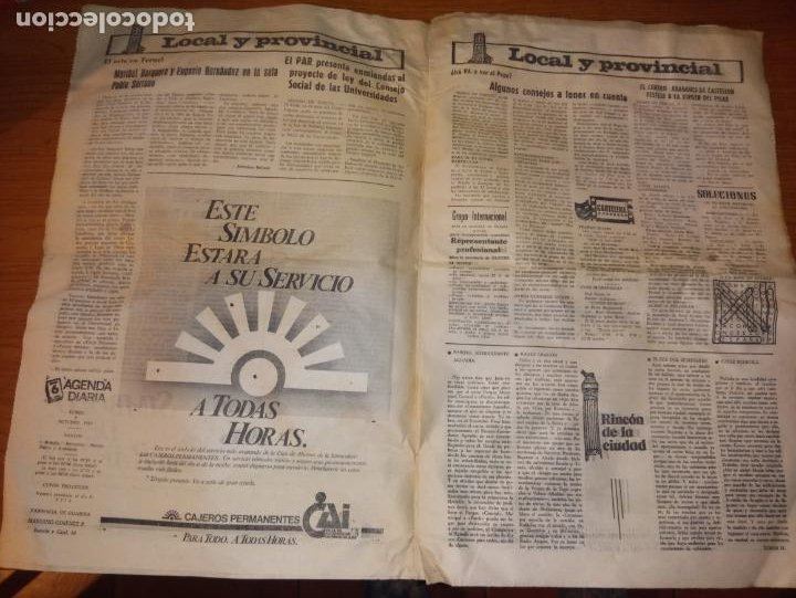 Coleccionismo de Revistas y Periódicos: DIARIO DE TERUEL 8 DE OCTUBRE DE 1986 - Foto 3 - 260428795