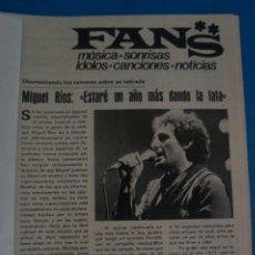 Coleccionismo de Revistas y Periódicos: RECORTE CLIPPING DE MIGUEL RIOS REVISTA SEMANA Nº 2199 PAG. 87 L39. Lote 260666160