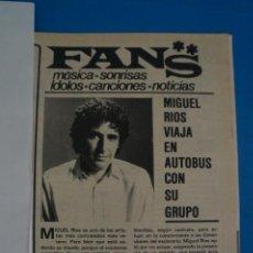 Coleccionismo de Revistas y Periódicos: RECORTE CLIPPING DE MIGUEL RIOS REVISTA SEMANA Nº 2221 PAG. 77 L39. Lote 260678085
