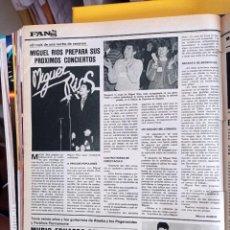 Coleccionismo de Revistas y Periódicos: MIGUEL RIOS ALASKA Y LOS PEGAMOIDES EDUARDO BENAVENTE. Lote 279564138