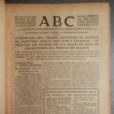 Coleccionismo de Revistas y Periódicos: PERIÓDICO GUERRA CIVIL ABC 24/09/1937 BATALLA FRENTES LEÓN ASTURIAS ARAGÓN TOMA GETINA RODILLAZO. Lote 261296280