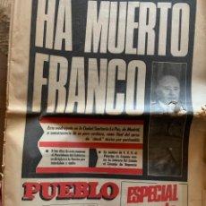 """Coleccionismo de Revistas y Periódicos: """"HA MUERTO FRANCO"""" PUEBLO, 20 NOVIEMBRE 1975. Lote 261785755"""