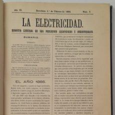 """Coleccionismo de Revistas y Periódicos: LIBRO DE REVISTAS AÑO COMPLETO DE 1885 """"LA ELECTRICIDAD"""". REVISTA GRAL.DE SUS PROGRESOS CIENTÍFICOS. Lote 261863580"""