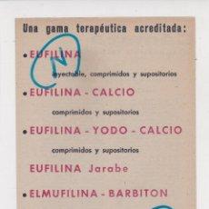 Coleccionismo de Revistas y Periódicos: PUBLICIDAD 1961. ANUNCIO MEDICAMENTOS EUFILINA ... CALCIO, YODO-CALCIO, JARABE. ELMUFILINA. ELMU. Lote 262323120