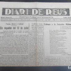 Coleccionismo de Revistas y Periódicos: GUERRA CIVIL - DIARI DE REUS 20-1-1938 - MANIFEST DELS REQUETES DEL 18 DE JULIOL. Lote 263189700