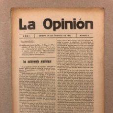 Coleccionismo de Revistas y Periódicos: SEMANARIO LA OPINIÓN N° 2 (BILBAO 1916). PUBLICACIÓN LIBERAL CREADA POR GREGORIO DE BALPARDA. Lote 263661535