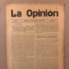 Coleccionismo de Revistas y Periódicos: SEMANARIO LA OPINIÓN N° 1 (BILBAO 1916). PUBLICACIÓN LIBERAL CREADA POR GREGORIO DE BALPARDA. Lote 263668440