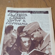 Coleccionismo de Revistas y Periódicos: LA LEGION CÓNDOR VUELVE A ALEMANIA. REPORTAJE 3 PAGINAS AÑO 1939.. Lote 266279743
