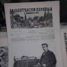 Coleccionismo de Revistas y Periódicos: LA ILUSTRACION ESPAÑOLA Y AMERICANA THOMAS ALVA EDISON. Lote 266366818