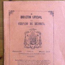 Collezionismo di Riviste e Giornali: MENORCA- CIUDADELA- BALEARES- BOLETIN OBISPADO - 1898. Lote 267465444