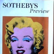 Coleccionismo de Revistas y Periódicos: MARILYN MONROE REVISTA SOTHEBYS PREVIEW ANO 1998. Lote 268328794
