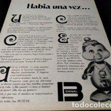Coleccionismo de Revistas y Periódicos: PF683 PUBLICIDAD PETETE CANAL 13. Lote 268639889