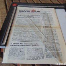 Coleccionismo de Revistas y Periódicos: TRANSICION ,PANFLETO , REVISTA GACETA ROJA PARTIDO COMUNISTA DE ESPAÑA RECONSTITUIDO. Lote 268766239