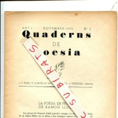 Coleccionismo de Revistas y Periódicos: QUADERNS DE POESIA ANY 1935 LA POESIA DE RAMON LLULL MANUEL DE MONTOLIU J.F. FOIX FONT I PUIG. Lote 268794274