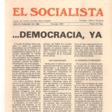Coleccionismo de Revistas y Periódicos: EL SOCIALISTA. DEMOCRACIA, YA. 15 ENERO 1977. (B/58). Lote 268964924