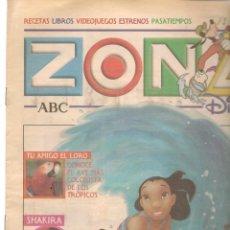 Coleccionismo de Revistas y Periódicos: ZONA DISNEY. ABC. Nº 42. SHAKIRA. 8 DICIEMBRE 2002. (B/58). Lote 268969419