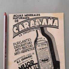 Colecionismo de Revistas e Jornais: PUBLICIDAD REVISTA ORIGINAL ANTIGUA. CARABAÑA AGUAS MINERALES PURGANTES. Lote 269102703