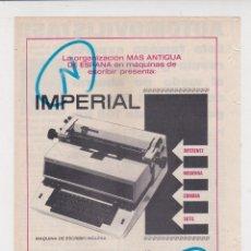 Coleccionismo de Revistas y Periódicos: PUBLICIDAD T 1969. ANUNCIO MAQUINAS DE ESCRIBIR IMPERIAL. GUILLERMO TRUNIGUER, S.A.. Lote 269981438