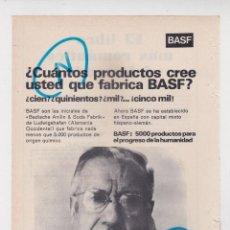 Coleccionismo de Revistas y Periódicos: PUBLICIDAD T 1969. ANUNCIO PRODUCTOS BASF. Lote 269981898