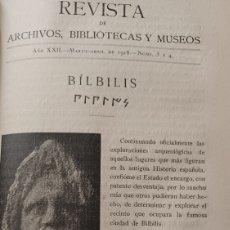 Coleccionismo de Revistas y Periódicos: BILBILIS, CALATAYUD. NARCISO SENTENACH. AÑO 1918. 21 PÁGINAS. Lote 270218178