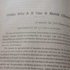 Coleccionismo de Revistas y Periódicos: CERÁMICA IBÉRICA DE EL TOLMO DE MINATEDA , ALBACETE. POR E . VARELA HERVIAS. AÑO 1917 .10 PAGINAS. Lote 270221608