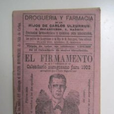 Collectionnisme de Revues et Journaux: CALENDARIO ZARAGOZANO PARA 1902 EL FIRMAMENTO. Lote 270233203