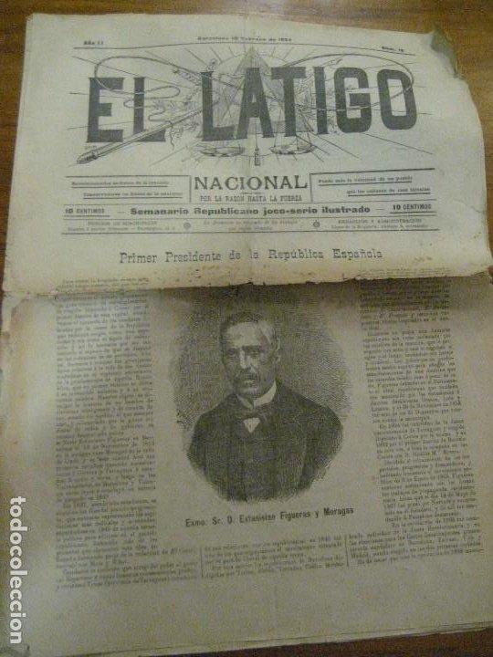PERIODICO EL LATIGO NACIONAL . Nº 16 AÑO 1894 SEMANARIO REPUBLICANO . PRESIDENTES REPUBLICA (Coleccionismo - Revistas y Periódicos Antiguos (hasta 1.939))