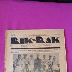 Coleccionismo de Revistas y Periódicos: REVISTA DEPORTIVA RIK RAK DE ALICANTE 1935. Lote 271865473
