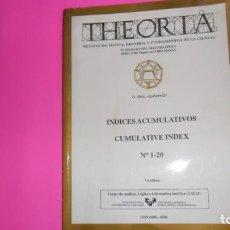 Coleccionismo de Revistas y Periódicos: THEORIA, REVISTA DE TEORÍA, HISTORIA Y FUNDAMENTOS DE LA CIENCIA, ÍNDICES ACUMULATIVOS 1-20. Lote 273977103
